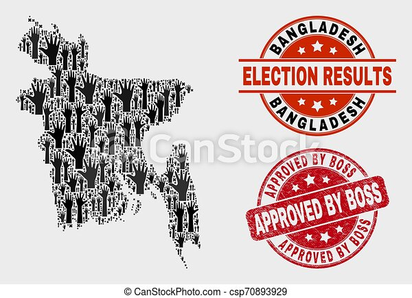 Collage of Electoral Bangladesh Map and Scratched Approved by Boss Stamp Seal - csp70893929