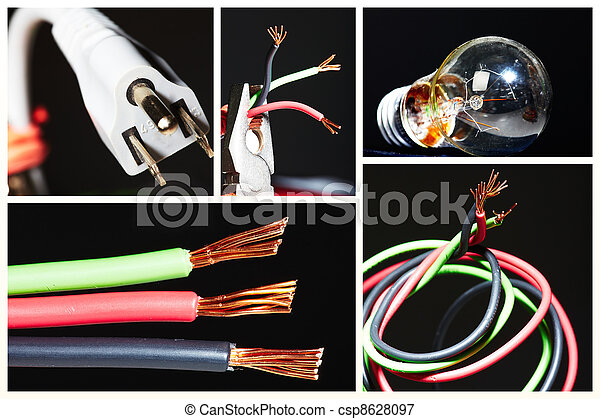 Collage of electrical instruments. - csp8628097