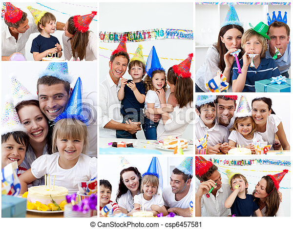 Collage of families celebrating a birthday together at home - csp6457581