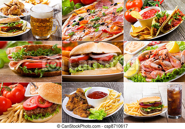collage of fast food - csp8710617