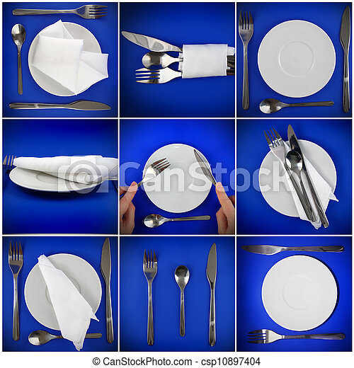 Collage of forks, knifes, plates, spoons on blue. - csp10897404