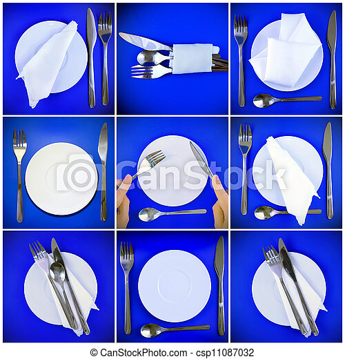 Collage of forks, knifes, plates, spoons on blue. - csp11087032