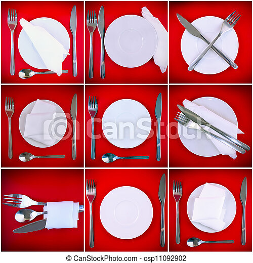 Collage of forks, knifes, spoons on red background. - csp11092902