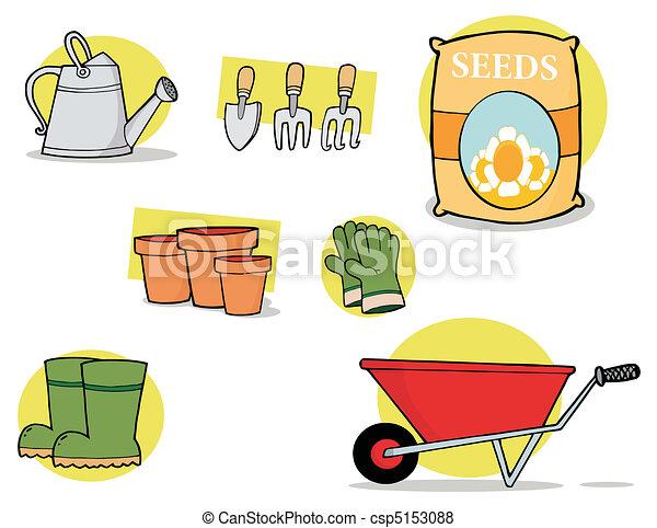 Collage Of Garden Tools  - csp5153088