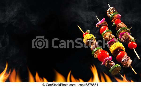 Collage of grilled meat skewers and vegetables - csp46878851