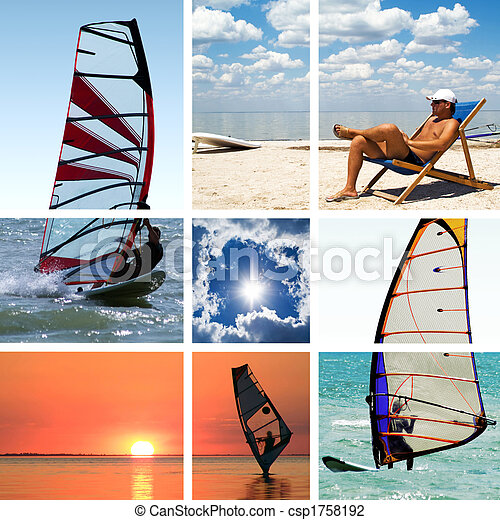 Collage of images on a summer sports theme. Surfing - csp1758192