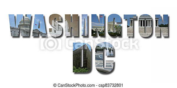 Collage of monuments and landmarks of Washington DC, text with shadow, isolated on white - csp83732801