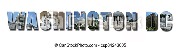 Collage of monuments and landmarks of Washington DC, text with shadow, isolated on white - csp84243005