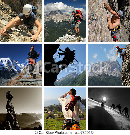 Collage of mountain summer sports including hiking, climbing and mountaineering - csp7329134