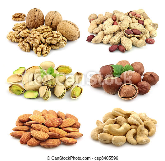 Collage of nuts - csp8405596