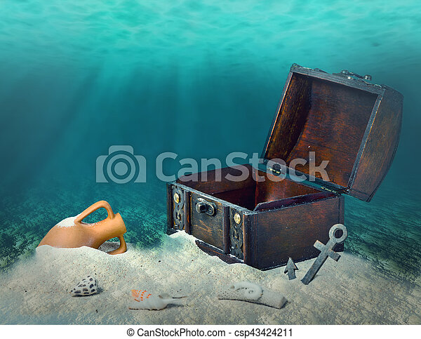 collage of opened empty old wooden treasure chest submerged