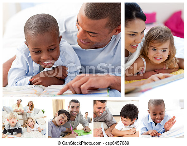 Collage of parents educating children at home - csp6457689