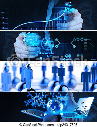 Collage of photo business strategy as concept  - csp24317506