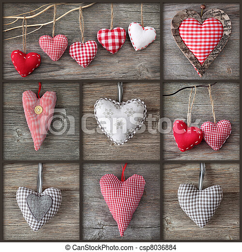 Collage of photos with hearts - csp8036884