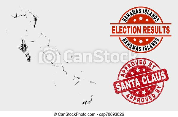 Collage of Poll Bahamas Islands Map and Grunge Approved by Santa Claus Watermark - csp70893826
