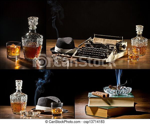 Collage of retro-Styled old typewriter, cigar, hat and whisky no. 1 - csp13714183
