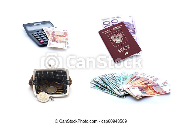 Collage of russian passport, euro banknotes, coins, purse and calculator lon white background - csp60943509