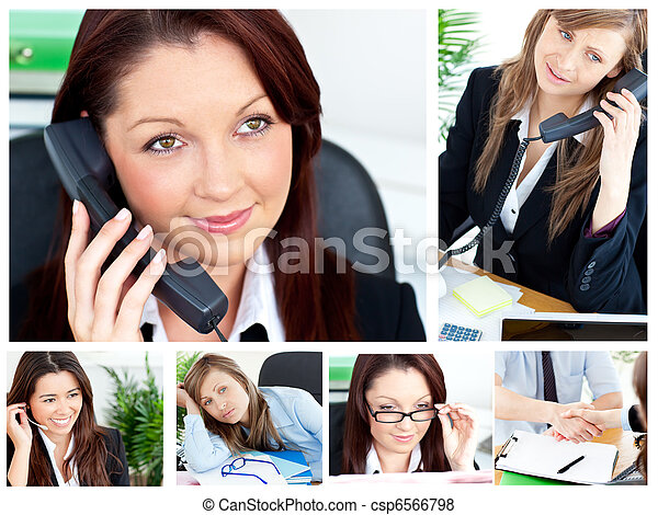 Collage of several business women - csp6566798