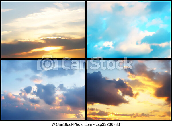 Collage of sky background - csp33236738