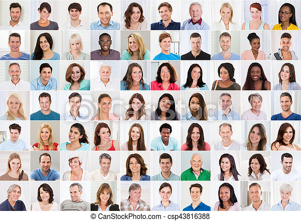 Collage Of Smiling People - csp43816388