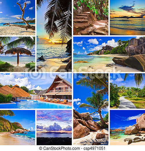 Collage of summer beach images - csp4971051