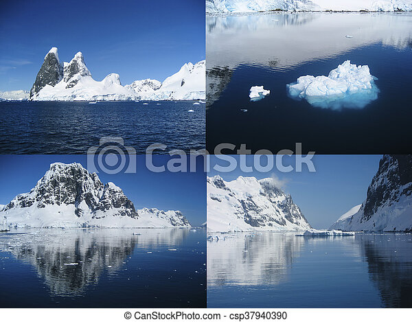 Collage of the beautiful Antarctic landscape of the Lemaire Channel - csp37940390