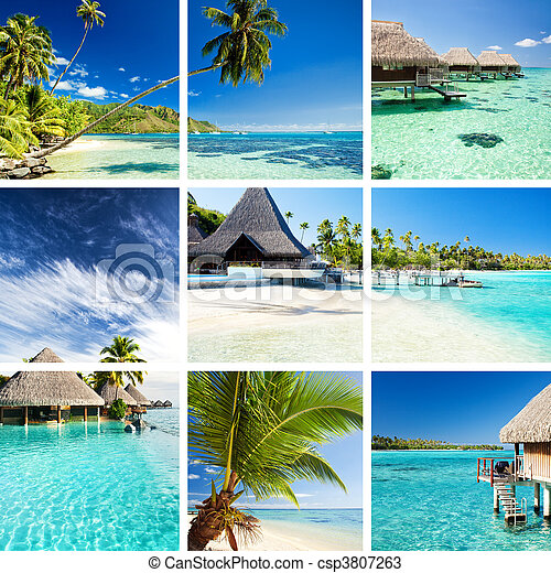 Collage of tropical images from moorea and tahiti - csp3807263
