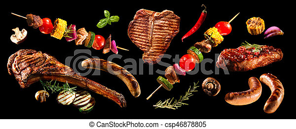 Collage of various grilled meat and vegetables - csp46878805