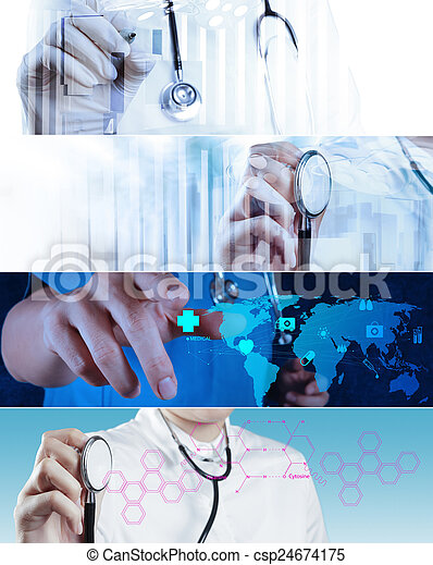 Collage of Various modern medical concept  - csp24674175