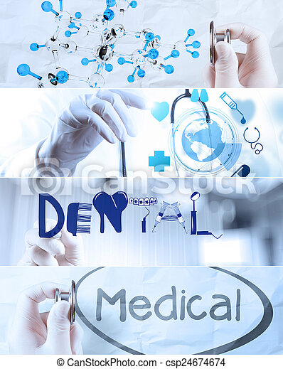 Collage of Various modern medical concept  - csp24674674
