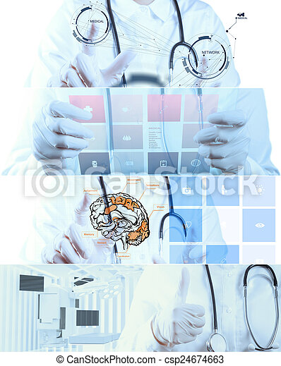 Collage of Various modern medical concept - csp24674663