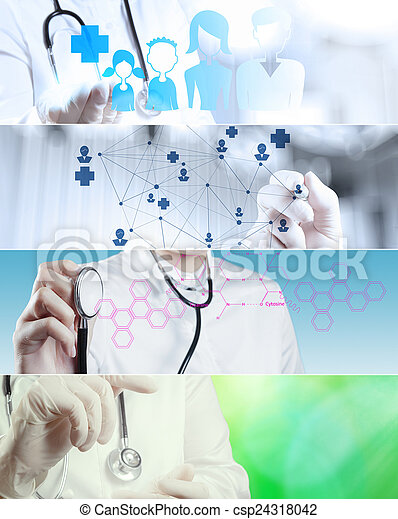 Collage of Various modern medical concept - csp24318042