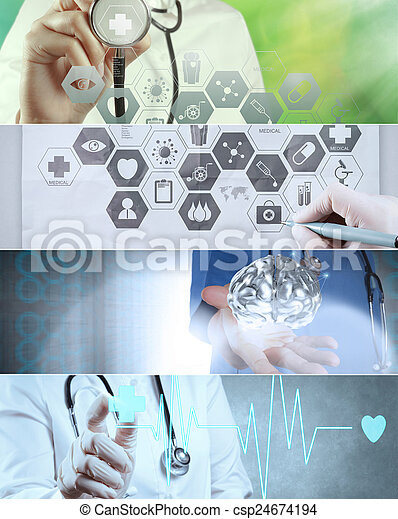 Collage of Various modern medical concept  - csp24674194