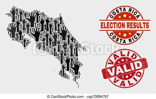 Collage of Voting Costa Rica Map and Distress Valid Stamp Seal - csp70894767