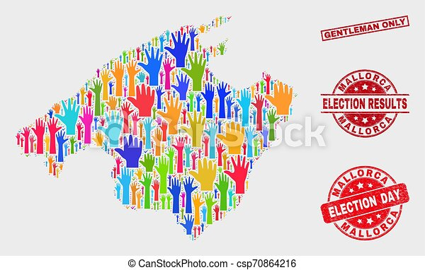 Collage of Voting Mallorca Map and Distress Gentleman Only Stamp Seal - csp70864216