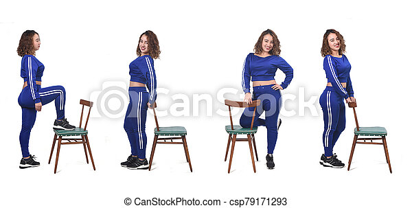 collage of woman playing with a chair in white background - csp79171293