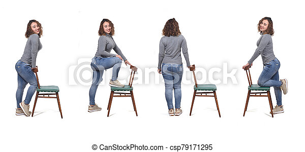 Collage of woman playing with a chair in white background - csp79171295