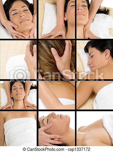 collage of women getting massage - csp1337172