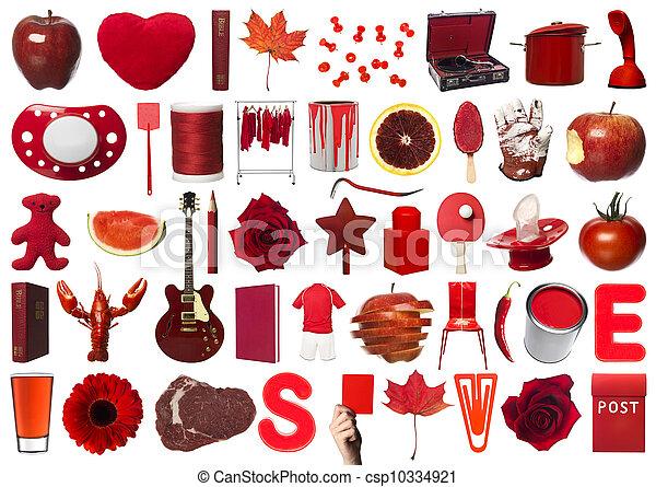 collage, oggetti, rosso - csp10334921
