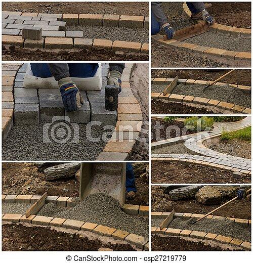 collage, percorso, costruzione - csp27219779