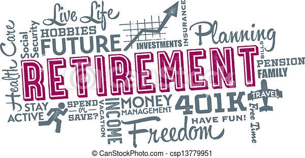 collage, retraite, planification, mot - csp13779951