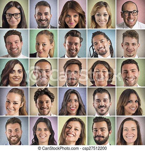 collage, sourire, coloré, faces - csp27512200