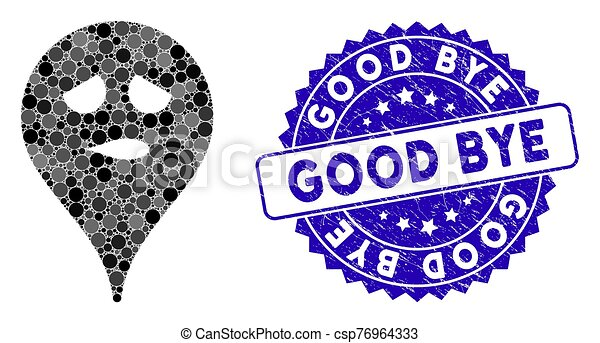 Collage Thinking Smiley Map Marker Icon with Grunge Good Bye Stamp - csp76964333