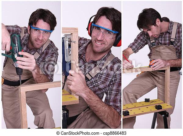 collage, travail, charpentier - csp8866483