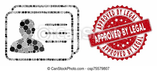 Collage User Cards with Scratched Approved by Legal Seal - csp75579807