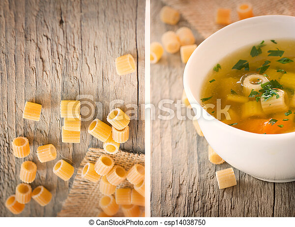 Collage Vegetable soup with pasta - csp14038750