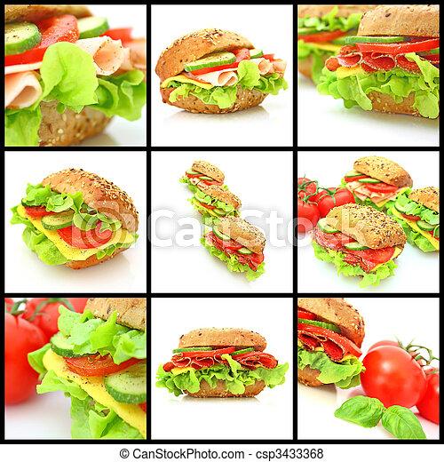 collage, viele, verschieden, sandwichs, frisch - csp3433368