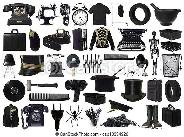 collage, voorwerpen, black  - csp10334926