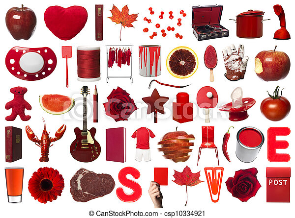collage, voorwerpen, rood - csp10334921