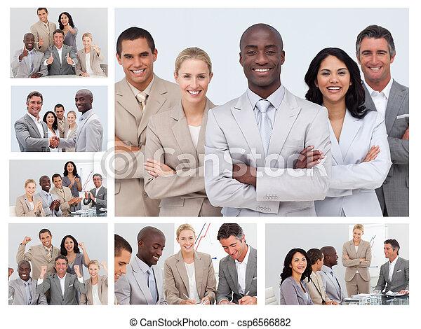 collage, vriendelijk, zakenlui - csp6566882